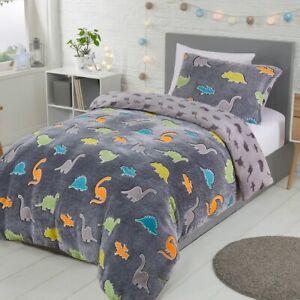 Dinosaur Glow in The Dark Fleece Kids Duvet Cover & Pillowcase Set Single Double