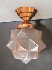 Ancien plafonnier ou lampe en verre rose forme étoile 1 pointe endommagée