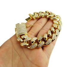 "Mens 14k Gold Plated Hip Hop Bracelet Chunky Cuban Iced Out Bling 8"" Inch x 20MM"