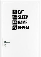 Eat Sleep Gaming Wandtattoo Tür Sticker Game Controller Wand Aufkleber Fun Decal