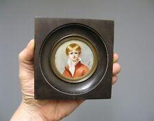 Peinture miniature XIXe. Portrait d'enfant.