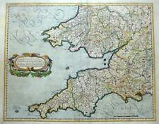 SOUTH WEST ENGLAND AND WALES BY MERCATOR  c1636 LARGE FOLIO GENUINE ANTIQUE MAP