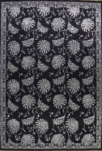 Black/ Silver Wool/ Silk Versace Design Area Rug Vegetable Dye Hand-knotted 9x12