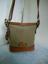 Fossil Authentic Cow Hide Leather And Textile Shoulder, Cross Body Hand Bag N24