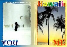 Hawaii Postcard You Me Rain Storm Palm Trees Sunset Funny Unposted