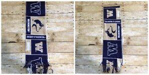 WA Huskies NCAA Pac 12 Unbranded Fleece Fringe Scarf Purple Gold College