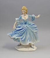Porzellan Figur Barock-Tänzerein blaues Kleid Ens H23cm 9941429