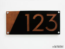 Modern House Numbers, Acrylic with Marine Plywood -  Sign Plaque - Door Number