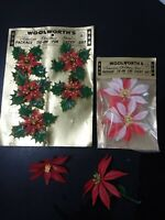 Vintage woolworths gift tie ons poinsettia christmas 40s-50s pipecleaner new