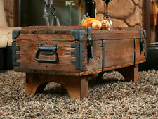 Old Travel Trunk Coffee Table Cottage Steamer Brown Chest Wooden Storage Box