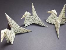 10 Origami Crane Name Place Card Holders, Vintage Handwriting Design, Bird