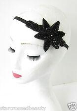 Black Beaded Headband 1920s Great Gatsby Flapper Headpiece Vintage Art Deco R33