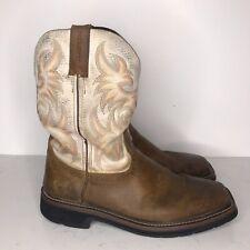 JUSTIN Stampede Brown Sz 9.5 D Men Square-Toe Work Cowboy Boots