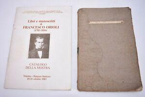 Catalogo Libri e manoscritti di Francesco Orioli + ARCHEOLOGIA VITERBO 1849 Raro