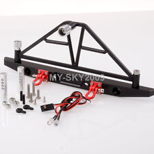 1:10 RC AXIAL SCX10 Jeep Metal Rear Bumper Spare Tire Carrier With LED Light