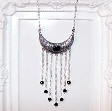 Aleta/Vintage/Plata Gatsby/década De 1920 Colgante Collar Con Cuentas De Cristal Negro