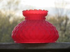 Antique Vintage Red Glass Oil Kerosene Lamp Shade Quilted Pattern