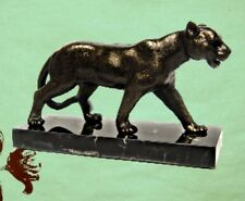 Figur Löwin Skulptur Eisen bronzefarben Marmor Home Geschenk Vintage Ästhetik 1