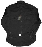 $245 NWT RALPH LAUREN BLACK LABEL BLACK SLIM FIT MILITARY CASUAL DRESS SHIRT L