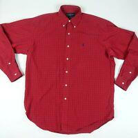 Ralph Lauren Mens Polo Blake Button Front Long Sleeve Logo Red Plaid Shirt M