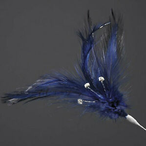6 PACK OF NAVY BLUE REAL FEATHERS WITH DIAMANTES 220mm CRAFT FLORAL DECORATION