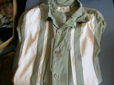 NWT ISLAND SHORES  SHORT SLEEVE BUTTON FRONT CAMP SHIRT GREEN/WHITE 2X XXL