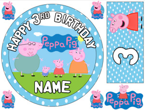 """PEPPA PIG INSPIRED 6"""" / A3 SHEET PERSONALISED EDIBLE ICING CAKE TOPPER"""