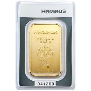 Heraeus - 50 Gramm Goldbarren - 999,9 Gold - in Blisterkarte - Neuware