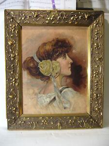Wien ? Mädchen Porträt im Jugendstil Rahmen um 1900 : brünette Dame Adel Paris