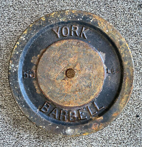 Vintage York Barbell Weight Standard Plate Total Weight 50 Pound 1 1/8 Inch Hole