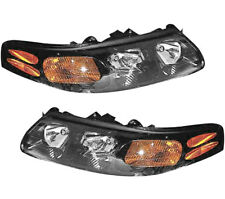New Pair Set Headlight Headlamp Embly W Bulb 00 03 Pontiac Bonneville