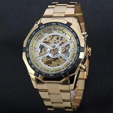 New Winner Men's Skeleton Stainless Steel Automatic Mechanical Sport Wrist Watch