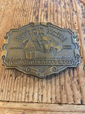 Vintage Belt Buckle Pirate Ship Gold Dealers Livingston Wells & Co Brass Nice