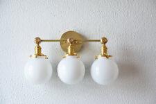 "Vanity Light Three Globe White Gold Brass Wall Sconce 6"" Mid Cen- polished Brass"