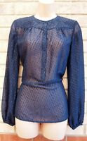 WAREHOUSE NAVY BLUE GLITTER BLACK LONG SLEEVE NECK PARTY TUNIC BLOUSE TOP 10 S