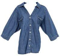Sonoma Life + Style Shirt Button Up Blouse Womens Sz 2XL Blue Argyle 3/4 Sleeve