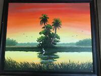 """Douglas E Moore 2006 """"Florida Landscape Scene"""" Acrylic Painting - Signed/Framed"""