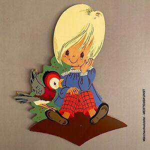 1960er Mertenskunst: Tunika-Junge mit psychedelischem Vogel 20cm Märchenholzbild
