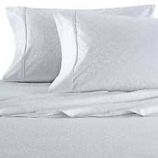New WHITE SCROLL PATTERN Wamsutta  625 TC 100% Pimacott Cotton KING Sheet Set