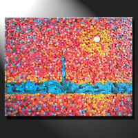 Original mosaic artwork painting porcelain sunset Toronto cityscape GeeBeeArt