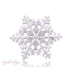 Grande smalto argento e bianco congelato Snowflake SPILLA PIN regalo di Natale