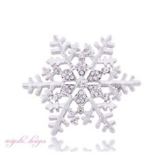 Large enamel Silver & White Frozen Snowflake Brooch Pin Christmas Gift