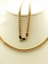 18k Solid Rose Gold Italian Flat Curb Link Necklace/ Chain 11.17 Grams