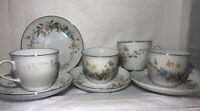 Fine China Premiere BERKSHIRE Porcelain Set Of 4 CUPS & SAUCERS  MD104 Floral