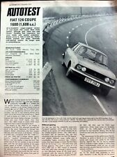 FIAT 124 COUPE 1600 - 1970 - Road Test removed from The Autocar + Advert