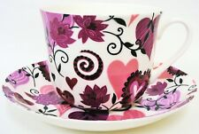 Hearts & Flowers Bone China Large Breakfast Cup Saucer Set Decorated UK