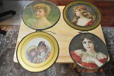 "4 Antique Chimney Flu Covers - Victorian Girls & Women 2@9 1/2"", 1@8 1/2"", 1@ 7"""