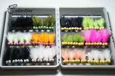 eliteflies 48 reservoir booby lures box fly fishing flies rainbow trout olive