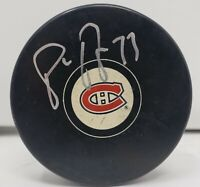 Pierre Turgeon signed Montreal Canadiens NHL Logo Puck w/ Free Cube