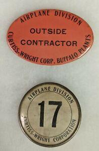 WW2 Era Employee Badges Curtiss-Wright Corp Buffalo Plant Lot of 2
